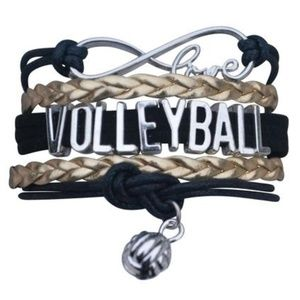 Girls Volleyball Bracelet - Black & Gold